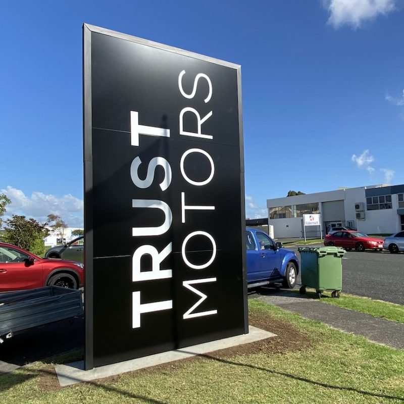 Pylon Plinth Sign Trust Motors Manukau